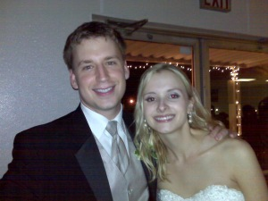 that there is the prettiest bride i've ever seen in real life -- my friend stephanie. and with her is her new husband chad.